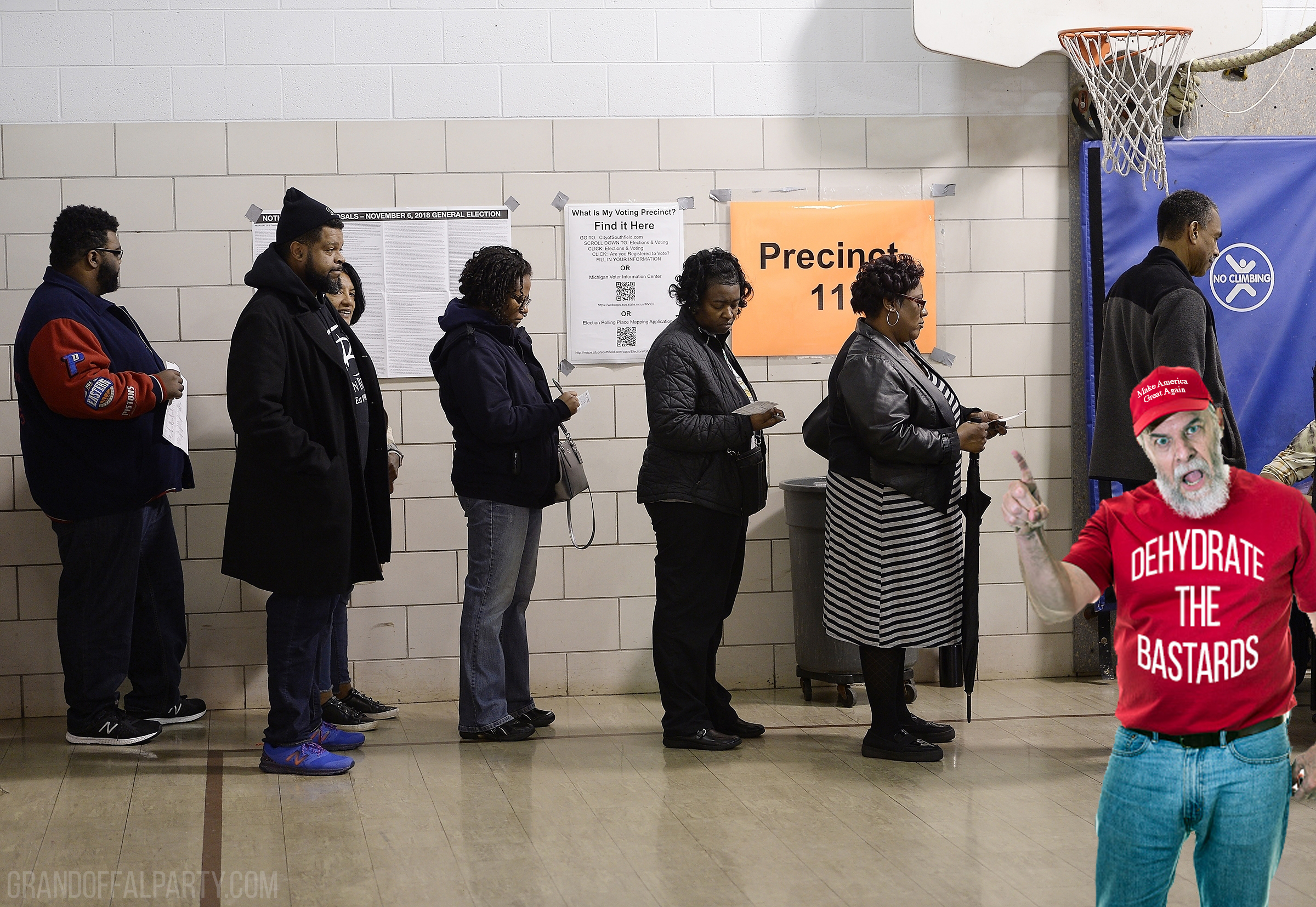 maga protestor at polling place with black voters